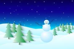 Het landschap van de winter Nieuwe jaaruitnodiging Sneeuwman royalty-vrije illustratie