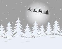 Het landschap van de winter Santa Claus berijdt over de hemel op deers royalty-vrije illustratie