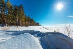 Het landschap van de winter Siberië, de kust van de Ob-rivier Royalty-vrije Stock Afbeelding