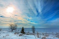 Het landschap van de winter Siberië, de kust van de Ob-rivier Royalty-vrije Stock Afbeeldingen
