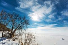 Het landschap van de winter Siberië, de kust van de Ob-rivier Royalty-vrije Stock Foto's
