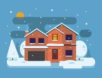 Het landschap van de winter Sneeuwdorp en aard - huis met sneeuwval Vrolijke Kerstmis en Gelukkige Nieuwjaarachtergronden in vlak Stock Afbeelding