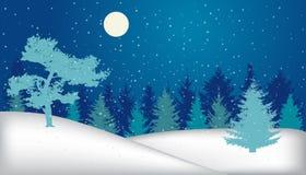 Het landschap van de winter Sneeuwnachtbos, silhouet royalty-vrije illustratie
