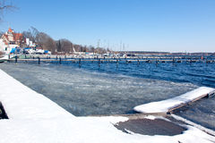 Het meer van Wannsee in de winter Stock Afbeeldingen