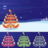 Het landschap van de winter (vector, CMYK) Stock Afbeeldingen