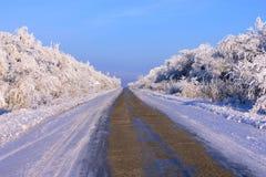Het Landschap van de winter, weg stock afbeeldingen