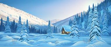Het landschap van de de winterberg met hut vector illustratie