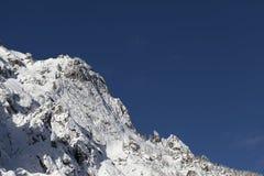 Het landschap van de de winterberg met snow-covered bomen Stock Afbeelding