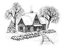 Het landschap van de winterkerstmis met huis, bomen en spar in de sneeuw Graverende uitstekende stijl Royalty-vrije Stock Afbeeldingen