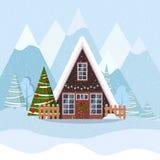 Het landschap van de winterkerstmis met a-kader huis in Skandinavische stijl verfraaide slinger en kroon royalty-vrije illustratie