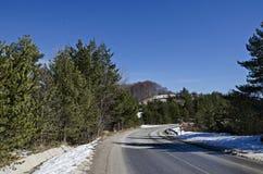 Het landschap van het de winterpanorama van pijnboom en vergankelijk bos met weg in Vitosha berg Stock Foto