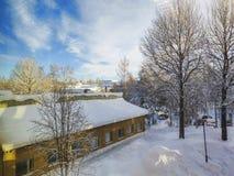 Het landschap van de de wintersneeuw onder de wolk vulde blauwe hemel en de sneeuw belastte pijnboombomen stock fotografie