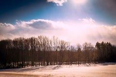 Het landschap van het de wintersprookjesland sunsWinter in de sunetsneeuw stock foto