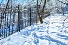 Het landschap van de de winterstad met een bevroren rooster en bomen in de sneeuw royalty-vrije stock afbeeldingen