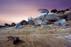 Het landschap van de woestijn bij schemer Royalty-vrije Stock Foto