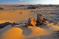 Het landschap van de woestijn bij Zonsondergang Stock Foto's