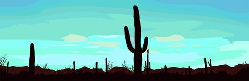 Het landschap van de woestijn met cactus. Stock Foto
