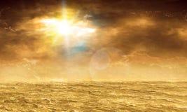 Het landschap van de woestijn met wolken Stock Afbeeldingen