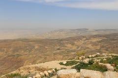 Het landschap van de woestijnberg (luchtmening), Jordanië, Midden-Oosten Stock Afbeeldingen