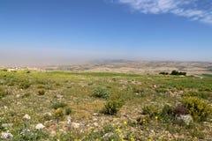 Het landschap van de woestijnberg (luchtmening), Jordanië, Midden-Oosten Stock Foto