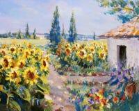 Het landschap van de zomer het schilderen Royalty-vrije Stock Afbeeldingen