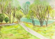 Het landschap van de zomer, het schilderen Royalty-vrije Stock Fotografie