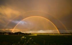 Het landschap van de zomer met een dubbele regenboog Stock Afbeeldingen