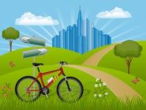 Het landschap van de zomer met een fiets Stock Afbeeldingen