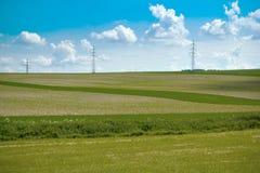 Het landschap van de zomer met gebied en weide Stock Fotografie