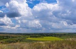 Het landschap van de zomer met groene gras en wolken Stock Foto's