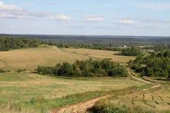 Het landschap van de zomer met groene gras, weg en wolken Stock Afbeelding