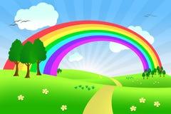 Het landschap van de zomer met regenboog Stock Foto's