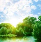 Het landschap van de zomer met rivier Stock Afbeeldingen