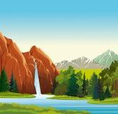 Het landschap van de zomer met waterval Stock Foto