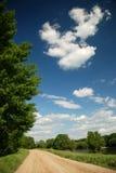 Het landschap van de zomer op blauwe hemelachtergrond Stock Afbeeldingen