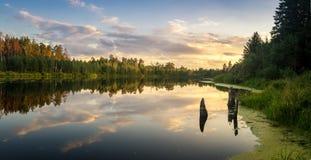 Het landschap van de de zomeravond op Ural-meer met pijnboombomen op de kust, Rusland royalty-vrije stock afbeeldingen