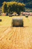 Het landschap van het de zomerlandbouwbedrijf met hooibergen op het gebied royalty-vrije stock foto