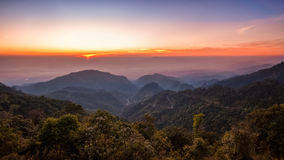 Het landschap van de zonsondergangzonsopgang Royalty-vrije Stock Afbeeldingen