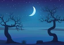 Het landschap van het droogtegebied bij nacht met dode bomen en een sterrige hemel royalty-vrije illustratie