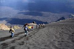 Het landschap van Etna: de afdaling Royalty-vrije Stock Foto
