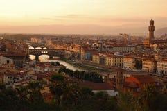 Het Landschap van Florence bij zonsondergang Stock Fotografie