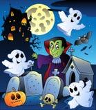 Het landschap van Halloween met begraafplaats 4 royalty-vrije illustratie