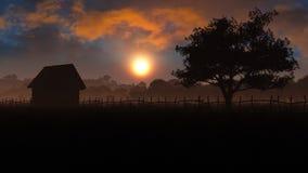 Het Landschap van het avondplattelandshuisje Stock Afbeeldingen