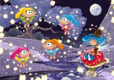 Het landschap van het beeldverhaal met feeën. Royalty-vrije Stock Fotografie