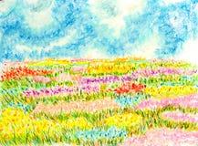Het landschap van het bloemengebied, oliepastelkleur het schilderen illustratie stock illustratie