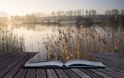 Het Landschap van het boekconcept van meer in mist met zongloed bij zonsopgang Stock Afbeeldingen