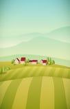 Het landschap van het dorp Royalty-vrije Stock Afbeelding