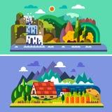 Het landschap van het dorp royalty-vrije illustratie