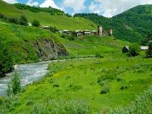 Het landschap van het land in Davberi Stock Foto