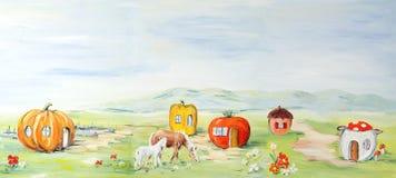 Het landschap van het landbouwbedrijf fairytale Royalty-vrije Stock Afbeeldingen
